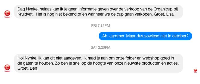 Kruidvat Facebook Messenger gesprek