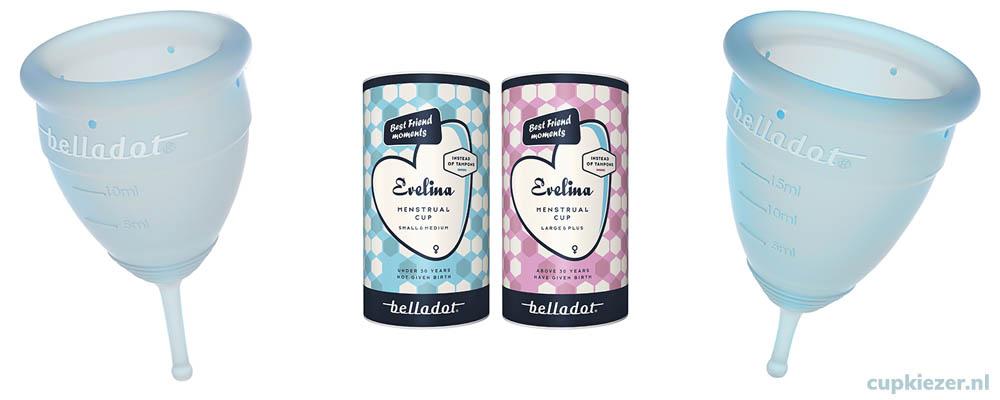Belladot Evelina verschillende maten menstruatiecup
