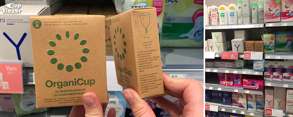 Menstruatiecup OrganiCup in de schappen bij Etos drogist